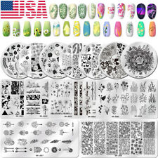 Nail Art Stamping Plates Flowers Marble Geometry Image Stamp Stencil Template US