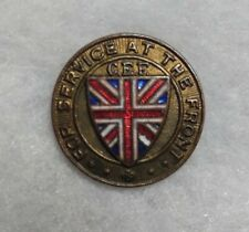 Ww1 Canadian Canada Cef Pin For Service at the Front Button World War One 405993