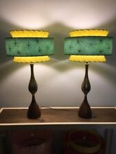 Pair of Mid Century Vintage Style Tapered 3 Tier Fiberglass Lamp Shades Modern