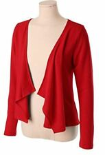 Long Sleeve Jersey Knit Draped Open Loose Silhouette Cardigan Red 3XL