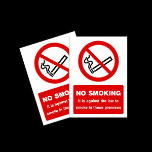 No Smoking warning stickers *Pack of 2* 100x150mm A6 Sign - MISC9