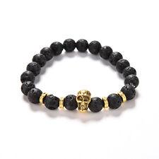Lava Rock Bracelet Natural Stone Golden Skull Men's Beaded Bracelet 8mm Bead MW