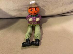 Halloween Pumpkin Scarecrow Shelf-Sitter