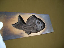 Japanese antique vintage Well-thumbed mold of bream wooden rare #1114