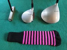 Knitted zebra style Fairway & Driver Golf Club head cover Black / Ruby Pink