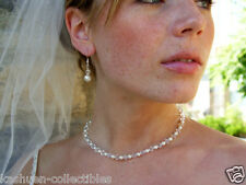 w Swarovski Crystal White Pearl Wedding ~Sterling Silver Necklace + Earrings Set