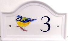 Blue Tit House Door Number Plaque Blue Tit Bird  Door Sign Any Number Decor UK