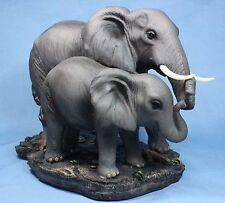 Elephant Statue Mother & Baby Elephants w Tusks Statue Figurine Sculpture