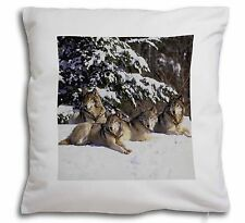 Wolves in Snow Soft Velvet Feel Cushion Cover With Inner Pillow, AW-8-CPW