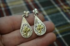 Lucky Clover C&S STERLING Dangle Rodeo Dress Earrings * Teardrops with Clovers *