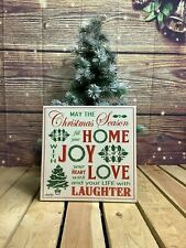 More details for gisela graham vintage style christmas wall canvas 30 x 30cms