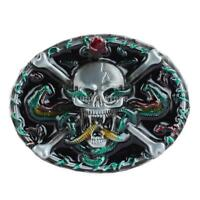 Gothic Skeleton Skull Belt Buckle Alloy Cowboy Rock Rose Beauty Western