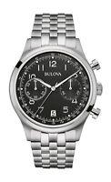 Bulova Women's Quartz Chronograph Black Dial Silver-Tone 43mm Watch 96B234