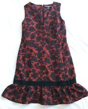 Vintage Karl Lagerfeld Paris Red & Black Damask Rose dress-Size 12