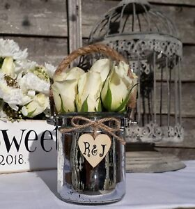 Personalized White metal candle lantern shabby french chic vintage wedding light
