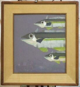 Chigiri-e washi paper Japanese Fish collage on Shikishi original wall art