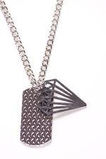 Botellita-Etiqueta de nombre de inspiración militar Colgante Collar De Metal Cromado & (Zx261)