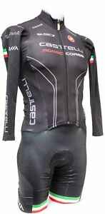 Castelli Long Sleeve Thermal Speedsuit Men SMALL Black Italy Road Bike Strava
