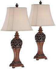 Wood Finish Table Lamps - Set Of 2, Carved Leaf Detailing...