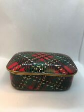 Fitz & Floyd Country Plaid Trinket Box Porcelain Made in Japan Tartan Gold Trim
