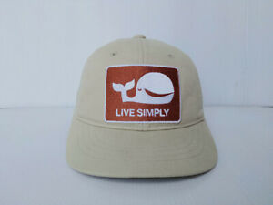 Patagonia LIVE SIMPLY WHALE Trucker Hat Cap Beige Cream Snapback Size for Kids