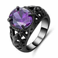 Elegant Woman Size 8(purple)Amethyst black 10k Gold Filled Fashion Wedding Ring