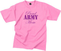 Women's Pink Proud Army Mom Casual T-Shirt