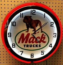 "19"" MACK Truck Bulldog Sign Double Neon Clock"