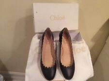 NIB Chloé Lauren Scalloped Leather Block Heel Pumps 40 Navy 100% Authentic