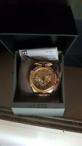 New Guess Womens Watch Frontier Gold Tone Glitz Chrono U1156L2 W1156L2 RRP$449