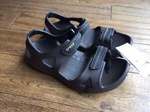 Mens Crocs Swiftwater River Adjustable Lightweight Brown Walking Sandals Size 11