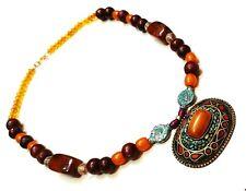 Tribal Jewelry Banjara Tibetan Necklace Brass Pendant Stone Vintage Beads Ethnic