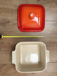 Le Creuset Orange Square Ceramic Lid For 3.3 Litre (With A Free Cracked Dish)