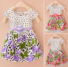 Baby Girl Sleeveless Polka Dot Party Birthday Casual Butterfly Summer Kids Dress