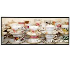 Job Lot Of 10 Pretty Mismatching Vintage China Tea Cups & Mix and Match Saucers