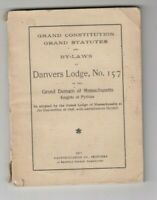 DANVER'S LODGE KNIGHTS OF PYTHIAS MASS. CONSTITUTION BY LAWS BOOK 1911