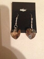 Quartz Earrings, Hearts, AAA Crystal Faceted Smokey Quartz - Only one available!