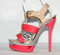 Sandali 38 Sexy Rosso Corallo High Heel Tacco Plateau Lace UP Coral Red Silver