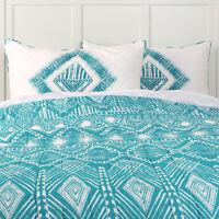 VHC Brands Pillow Sham Standard King Cotton White w Green Print Reversible