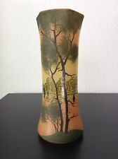Vase en verre soufflé émaillé à décor lacustre jaune orangé de Legras