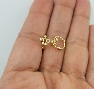 14K Yellow Gold Over Baby Crown Huggie Hoop Earrings