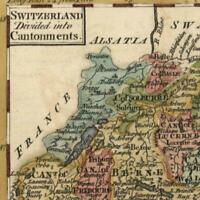 Switzerland divided into Cantonments 1762 Dury lovely charming miniature old map