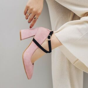 Womens Pointed Toe Kitten High Heels Buckle Pumps Cross Strap Solid Party Shoes