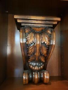 "LARGE Faux Wood Walnut Wall Bracket Corbel Wall Sconce Shelf Very Nice 18"" x 13"""