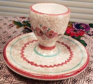 Beautiful Hand Painted Clay / 1 Piece Egg Cup & Saucer