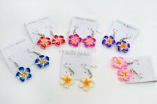 FREE Wholesale 12pair Flower FIMO Rhinestone polymer clay Silver Plated Earrings