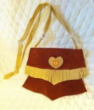 LADIES WESTERN PURSE -  SMALL RUST W/ GOLD GENUINE LEATHER FRINGED LONG STRAP