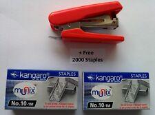 STAPLER MINI-10 FREE 2000 STAPLES WITH STAPLE REMOVER HOOK OFFICE Red staplers
