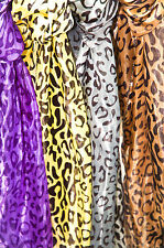 4 for $10 Mock Silk Scarf Lot Leopard Print Purple Yellow Grey Brown MultiColor