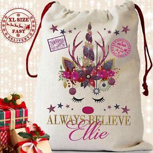 Unicorn Santa Sack Christmas Xmas Reindeer Bag Stocking Name Personalised Girls